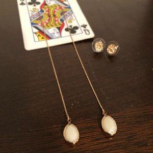 bundle of 2 pair of earrings, 1 long chain dangle